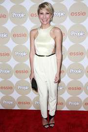 Chelsea Kane looked futuristic in a sleeveless white jumpsuit with see-through side panels during People's Ones to Watch party.