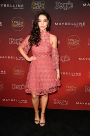 Auli'i Cravalho looked oh-so-pretty in this pink lace cold-shoulder dress during People's Ones to Watch event.