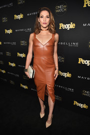 Allison Holker slipped into a rust-colored leather dress for the Ones to Watch event.