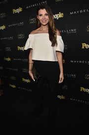 Ali Landry paired a cute white off-the-shoulder top with black pants for the Ones to Watch event.
