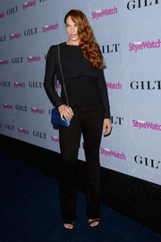 A black cropped jacket added a formal touch to Amanda Righetti's ensemble at the People StyleWatch Denim Awards.