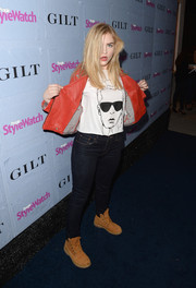 Maddie Hasson was dressed down in skinny jeans, a tee, and a leather jacket at the People StyleWatch Denim Awards.
