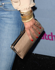 Emmanuelle Chriqui accessorized with a classic nude frame clutch at the People StyleWatch Denim Awards.
