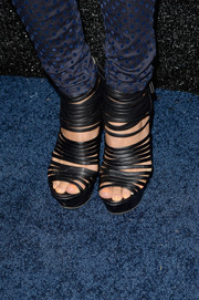 Annie Ilonzeh stepped out in ultra-sexy black strappy sandals at the People StyleWatch Denim Awards.