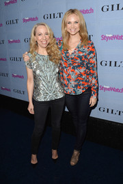 Fiona Gubelmann looked demure in her long-sleeve print blouse during the People StyleWatch Denim Awards.