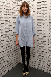 Alexa Chung wore these gold platform pumps to the Fair Trade Fashion Revolution Party in London.
