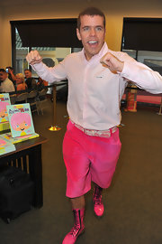 The button-down looked innocent enough. But the pink shorts and lace-up boots were outrageous! Then again, it's Perez Hilton!