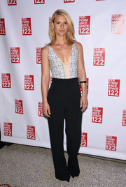 Claire Danes paired her sexy top with on-trend black wide-leg pants, also by Narciso Rodriguez.