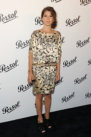 Marisa Tomei chose a luxe-looking cream and black satin frock for the Persol Magnificent Obsessions Event.