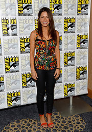 Sarah Shahi sported a bold floral zip-up blouse while at Comic-Con International 2013.
