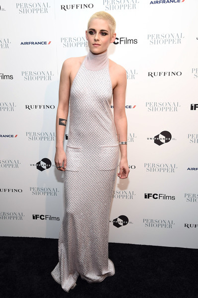Kristen Stewart showed off her super-slim physique in a flowing halter gown by Chanel at the New York premiere of 'Personal Shopper.'