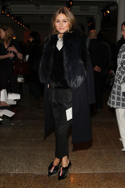 Olivia Palermo was in the mood for fur, finishing off her look with these Fendi pumps.