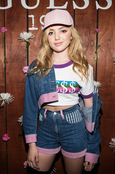 Peyton List Crop Top [peyton list,clothing,beauty,pink,shorts,t-shirt,cool,crop top,fashion,waist,child model,guess 1981 fragrance launch,fragrance launch,chateau marmont,los angeles,california]