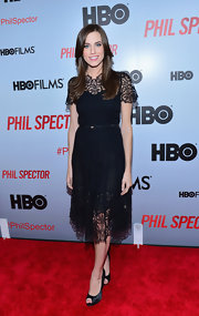 Allison Williams opted for a little black dress with lace detailing for her red carpet look at the 'Phil Spector' premiere in New York.