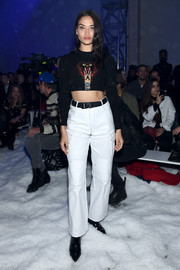 Shanina Shaik flaunted her trim abs in a cobra crop-top by Philipp Plein during the brand's Fall 2018 show.