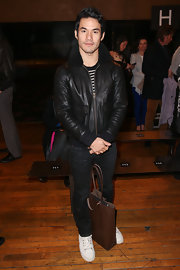 Joseph Altuzarra's black bomber jacket was casual but cool at the Philosophy by Natalie Ratabesi Fall 2013 runway show.