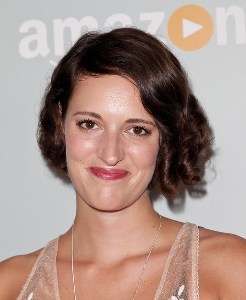 Phoebe Waller-Bridge Curled Out Bob [hair,face,hairstyle,eyebrow,chin,lip,skin,brown hair,forehead,beauty,phoebe waller-bridge,sunset tower hotel,west hollywood,california,amazon,emmy celebration - arrivals,emmy celebration]