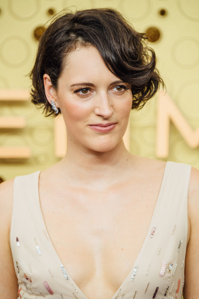 Phoebe Waller-Bridge Short Wavy Cut [image,hair,face,hairstyle,eyebrow,skin,chin,beauty,lip,lady,forehead,arrivals,phoebe waller-bridge,emmy awards,filters,california,los angeles,microsoft theater]