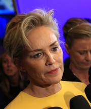 Sharon Stone went edgy-chic with this messy cut at the Pilosio Building Peace Award.