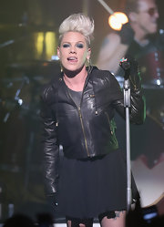 Pink rocked it out (as usual) in a butter-soft leather zip-up.