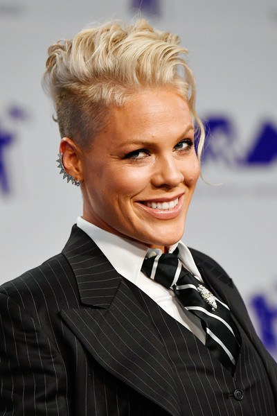 Pink Mohawk [hair,hairstyle,blond,eyebrow,forehead,chin,suit,smile,white-collar worker,hair coloring,arrivals,pink,mtv video music awards,inglewood,california,the forum]