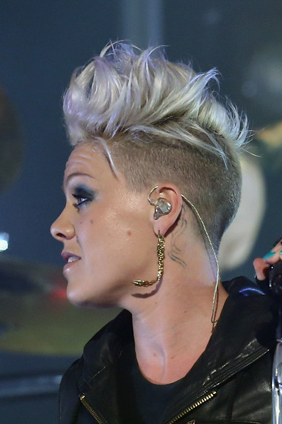 Pink Fauxhawk [the truth about love,hair,ear,hairstyle,blond,eyebrow,chin,fashion,beauty,nose,organ,pink,fans,pink live at the forum,singer pink,australia,the forum theatre,melbourne]
