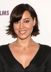 Aubrey Plaza looked adorable with her short, flippy 'do and side-swept bangs at the premiere of 'The Pistol Shrimps.'