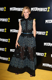Elizabeth Banks wowed at the 'Pitch Perfect 2' VIP screening in an Elie Saab gown in sheer black fabric punctuated with teal leaf embroidery.