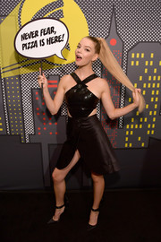 Anya Taylor-Joy looked party-ready in a sequined halter crop-top by Giorgio Armani at Comic-Con International 2018.