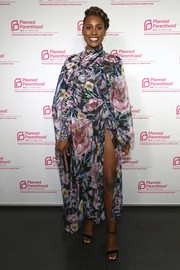 Issa Rae went super sweet in a long-sleeve floral frock by Prabal Gurung at the Politics, Sex & Cocktails event.