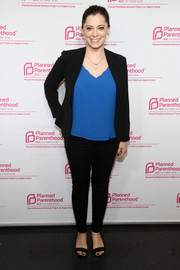Rachel Bloom kept it simple in a black pantsuit teamed with a blue top at the Politics, Sex & Cocktails event.