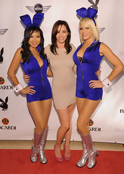 Jessica Sulta put on a pair of studded peep-toe pumps for the Playboy event.