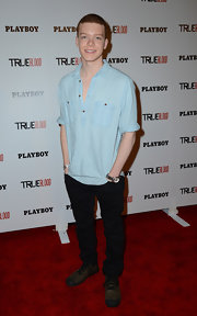 Cameron Monaghan looked classy in a blue button down shirt at the Playboy and True Blood 2012 Event.