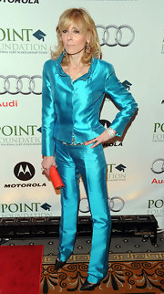 Judith Light was out for a show in this loud electric blue pantsuit.