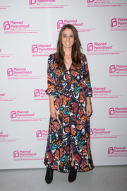 Sara Bareilles was bursting with colors at the Politics, Sex, and Cocktails fundraiser wearing this chic butterfly-print dress.
