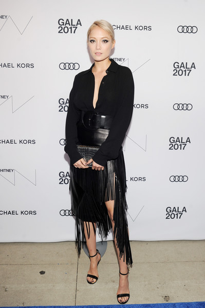 Pom Klementieff Strappy Sandals [clothing,fashion,dress,fashion design,little black dress,shoulder,footwear,formal wear,event,long hair,whitney museum celebrates annual spring gala,pom klementieff,whitney museum,new york city,studio party,spring gala]