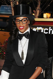 June Ambrose carried her masculine outfit well as she wore a tux-inspired ensemble with matching satin bowtie at the NY Fashion's Night Out.