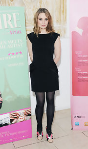 Deborah Francois kept her look classic and simple with a black LBD, featuring a peplum skirt.
