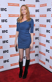 Heather Graham attended the red carpet screening of 'Portlandia' in sleek black suede knee high boots.