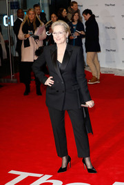 Meryl Streep suited up in black Alexander McQueen for the European premiere of 'The Post.'