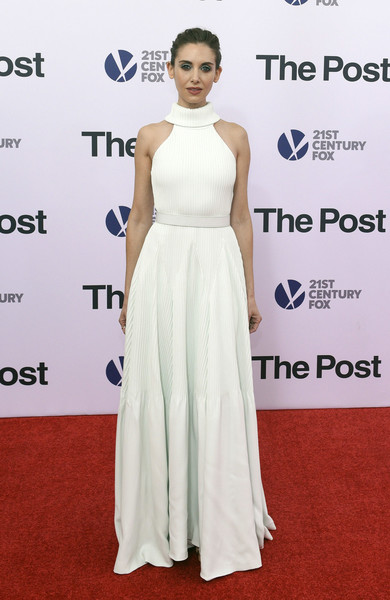 Alison Brie looked effortlessly elegant in a pale mint-green Brandon Maxwell halter gown with a rolled neckline at the Washington, DC premiere of 'The Post.'