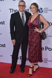 Rita Wilson went for a feminine floral velvet-burnout dress when she attended the Washington, DC premiere of 'The Post.'
