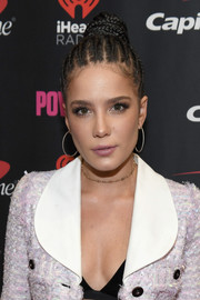 Halsey teamed her updo with a pair of sterling hoops.