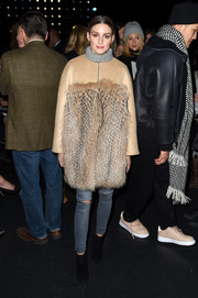 Olivia Palermo attended the Prabal Gurung fashion show rocking a pair of ripped jeans by Black Orchid.
