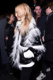 Rachel Zoe arrived for the Prabal Gurung fashion show wearing a funky black-and-white fur jacket.