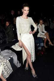 Jaime King opted for a comfy and chic snake-embroidered sweater by Prabal Gurung when she attended the label's fashion show.