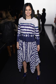 Leigh Lezark hit the Prabal Gurung fashion show wearing a long-sleeve tie-dye top from the brand.