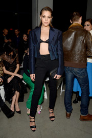 Sistine Rose Stallone finished off her outfit with black skinny pants.