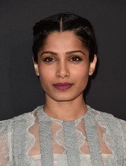 Freida Pinto attended the LA premiere of 'Past Forward' wearing her hair in cute French braids.