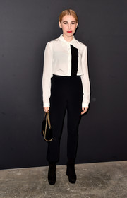 Zosia Mamet went the mannish route in a black-and-white button-down by Prada at the LA premiere of 'Past Forward.'